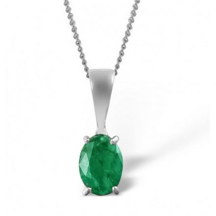 18K White Gold 7mm x 5mm Emerald Pendant, DCP02-EW